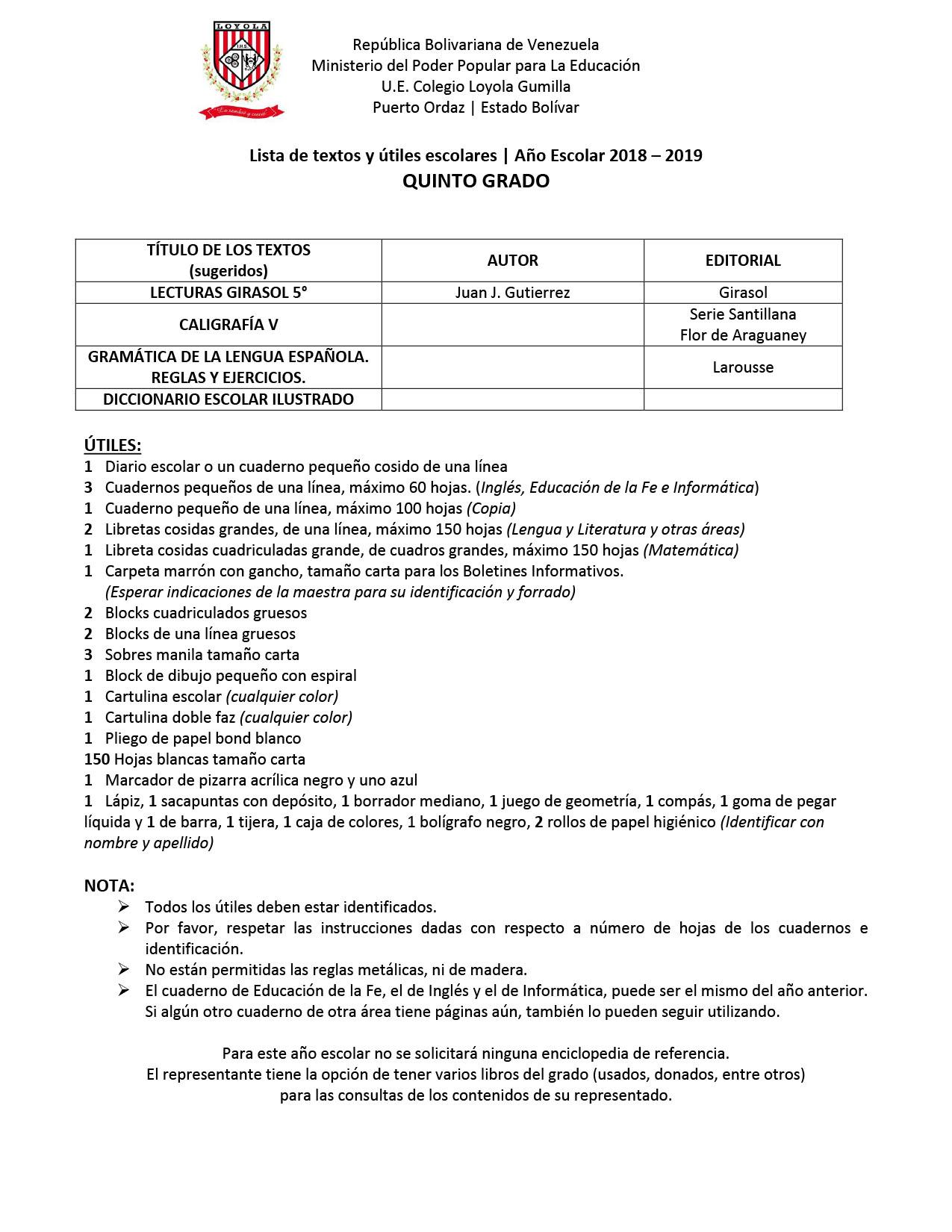 e793dfa15e Listas de Útiles Escolares y Uniformes – Año Escolar 2018 - 2019 ...